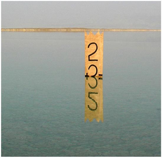 """""""2+3=5"""" – כתובת על דיקט. החצי התחתון הוא השתקפות. ים המלח. 2006"""